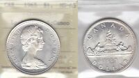 1965 ICCS MS65 $1 LGEBDS BLT 5 CAMEO  TYPE 3 LARGE BEADS BLUNT 5  CANADA SILVER