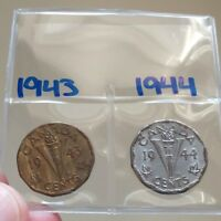 LOT OF 2   CANADA 5 CENTS NICKELS   1943 AND 1944 WW2 COINS COINSOFCANADA