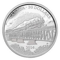 GRAND TRUNK PACIFIC RAILWAY CANADA  2014   $30   2 OZ. FINE SILVER COIN