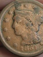 1851 BRAIDED HAIR LARGE CENT VG DETAILS
