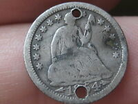 1854 P SEATED LIBERTY HALF DIME  HOLED TWICE  VG DETAILS