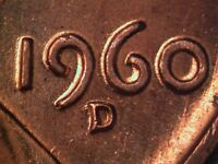 1960 D 1MM 004 WRPM 009 RPM 004 CRPM 021 LINCOLN CENT REPUNCHED MINT MARK