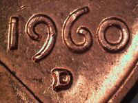 1960 D 1MM 062 WRPM 050 RPM 062 LINCOLN CENT REPUNCHED MINT MARK