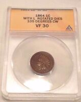 MINT ERROR 1864 INDIAN HEAD CENT ROTATED DIE 105 DEGREES  ANACS VF30