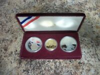 1983 1984 OLYMPIC 3 COIN COMMEMORATIVE PROOF SET W/ 10DOLLAR