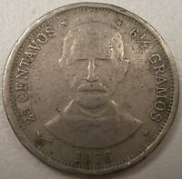 1976 DOMINICAN REPUBLIC 25 CENTAVOS COIN  NICE