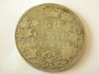 1901 CANADA STERLING SILVER 50 CENT HALF DOLLAR COIN