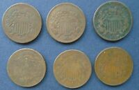 SHORT SERIES 1864-1869, SIX 6 TWO CENT COINS GOOD/ GOOD LY MATCHED SET