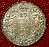 1918 CANADA SILVER 25 CENTS NICE CANADIAN COIN VF  C211