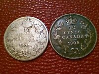CANADIAN COIN  1909 BROAD & VICTORIAN LEAVES CANADA SILVER 10 CENTS SET BB80