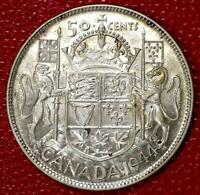 1944 CANADA SILVER 50 CENTS NICE CANADIAN COIN AU/UNC C217