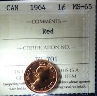 CANADA CENT 1964  ICCS RED   HIGH GRADE