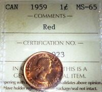 HIGH GRADE 1959 ONE CENT  ICCS GRADED