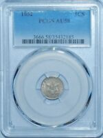 1852 PCGS AU58 FS-302 RPD REPUNCHED DATE 3CS THREE CENT SILVER