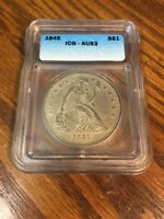 1845 SEATED LIBERTY 1 DOLLAR ICG AU 53  COIN FOR THE GRADE