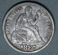1887 10C SEATED LIBERTY SILVER DIME  EARLY TYPE COIN EXTRA FINE  EXTRA FINE