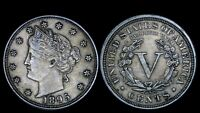 1895 5C LIBERTY V NICKEL BETTER DATE AU ABOUT UNC BU EARLY US TYPE COIN