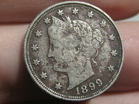 1899 LIBERTY HEAD V NICKEL- VF/EXTRA FINE  DETAILS, FULL DATE