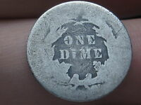 1891 P SEATED LIBERTY SILVER DIME- AG DETAILS