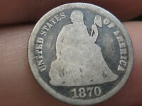 1870 SEATED LIBERTY DIME-  SEMI KEY DATE, FULL DATE