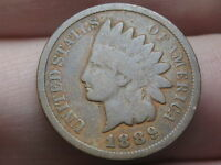 1889 INDIAN HEAD CENT PENNY, VG/FINE DETAILS, FULL RIMS