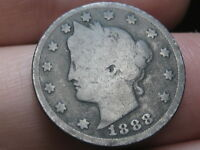 1888 LIBERTY HEAD V NICKEL 5 CENT PIECE, FULL DATE