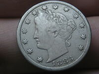 1883 LIBERTY HEAD V NICKEL- NO CENTS, EXTRA FINE  OBVERSE DETAILS