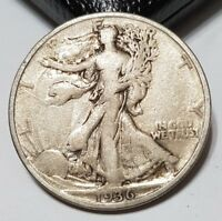1936 50C WALKING LIBERTY HALF DOLLAR - .900 SILVER FIFTY CENT COIN