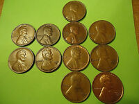 LOT OF 11 PENNIES ROLL  2 '50  2 '51  4 '52  3 '53    ALL S MARKS