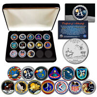 APOLLO SPACE MISSIONS FL QUARTERS 13 COIN COMPLETE SET NASA PROGRAM WITH BOX
