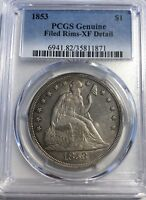 1853 LIBERTY SEATED $1 DOLLAR PCGS GENUINE EXTRA FINE  DETAIL