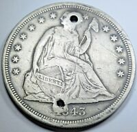 1843 $1 US SILVER DOLLAR SEATED LIBERTY EXTRA FINE  DETAILS ANTIQUE CURRENCY COIN MONEY