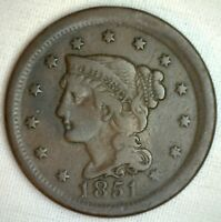 1851 BRAIDED HAIR LARGE CENT COPPER US TYPE COIN FINE 1C PENNY M14