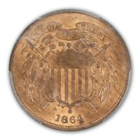 1864 2C LARGE MOTTO TWO CENT PIECE PCGS MINT STATE 65RB CAC