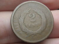 1864-1869 TWO 2 CENT PIECE- CIVIL WAR TYPE COIN, FULL REVERSE RIMS