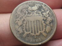 1864 TWO 2 CENT PIECE- SMALL MOTTO, CHOCOLATE BROWN,