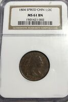 1804 SPIKED CHIN DRAPED BUST HALF CENT NGC MINT STATE 61 BN
