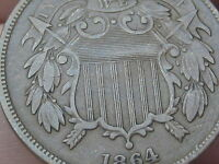 1864 TWO 2 CENT PIECE- LARGE MOTTO, EXTRA FINE  DETAILS, WE VISIBLE