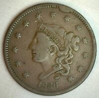 1836 CORONET LARGE CENT US COPPER TYPE COIN FINE NEWCOMB VARIETY N6 PENNY M1