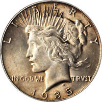 1935 PEACE SILVER DOLLAR PCGS MINT STATE 62 LY TONED WITH LUSTER AND SHARP STRIKE