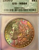 1884-O ICG MINT STATE 64 CERTIFIED GRADED ELECTRIC OBVERSE TONED MORGAN