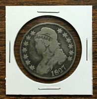 1827 CAPPED BUST HALF / .50 CENT PIECE .900 SILVER G / VG