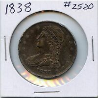 1838 50C CAPPED BUST SILVER HALF DOLLAR. CIRCULATED. LOT 2220