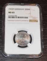 1923-F GERMANY 200 MARK GRADED BY NGC AS MINT STATE 65