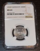 1923-F GERMANY 200 MARK GRADED BY NGC AS MINT STATE 64