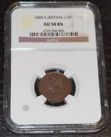 1884 GREAT BRITAIN FARTHING, 1/4 PENNY GRADED BY NGC AS AU 58 BN