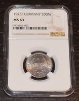 1923-F GERMANY 200 MARK GRADED BY NGC AS MINT STATE 63
