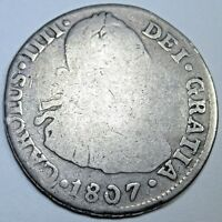 1807 JP SPANISH SILVER 2 REALES PIECE OF 8 REAL US COLONIAL TWO BITS PIRATE COIN