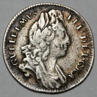 1696 KING WILLIAM III GREAT BRITAIN SILVER SIXPENCE SIX PENC