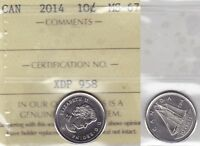 2014 ICCS MS67 10 CENTS CANADA  TEN DIME SOLE HIGHEST GRADE ON EBAY